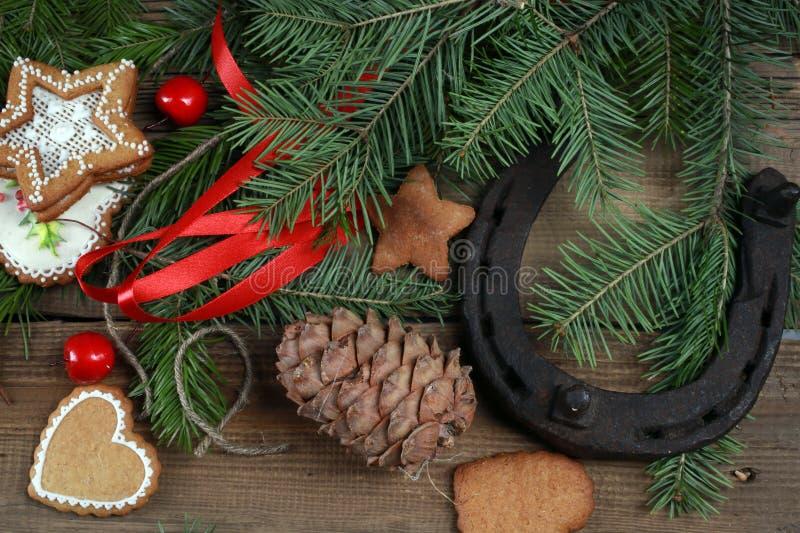 Espírito do Natal? com Santa e Noel imagem de stock royalty free