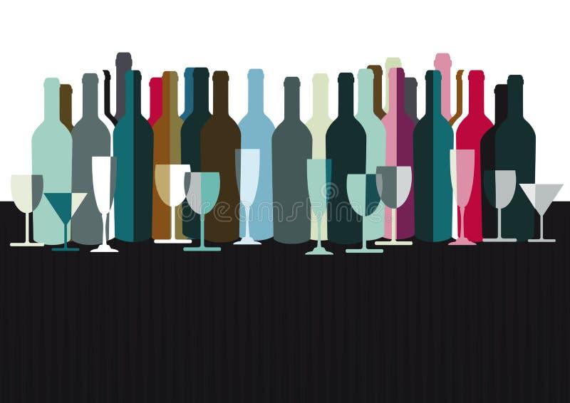 Espírito e garrafas de vinho ilustração do vetor
