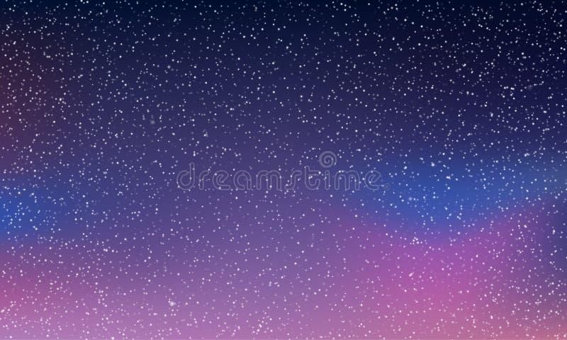Espíritos do céu estrelado, fundo do vetor espacial noturno As luzes do norte brilham, estrelas de galáxias abstratas neon aurora ilustração do vetor