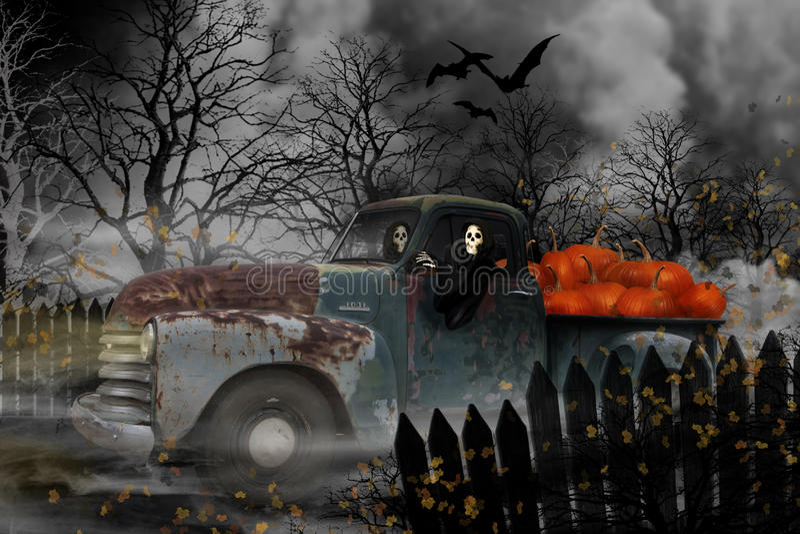Espíritos necrófagos de Dia das Bruxas em Chevy Truck idoso ilustração royalty free