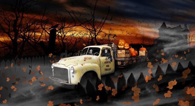 Espíritos necrófagos de Dia das Bruxas que conduzem o caminhão de entrega velho imagens de stock royalty free