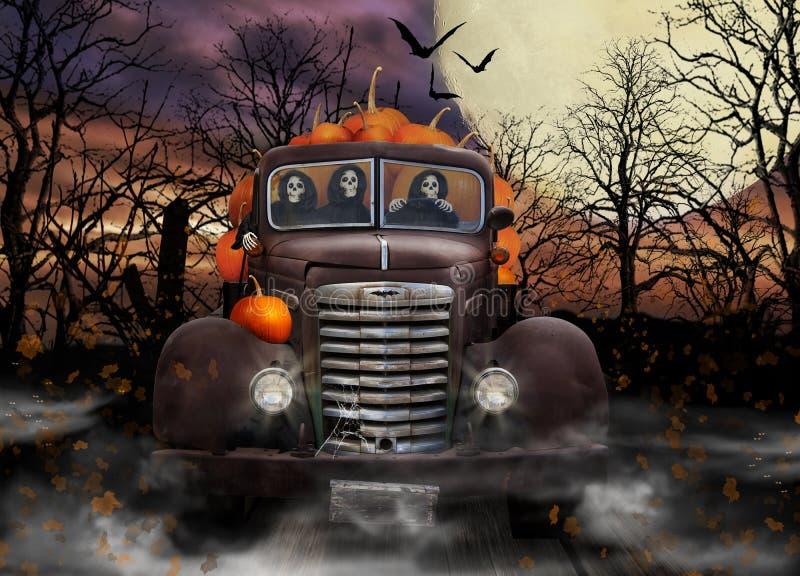 Espíritos necrófagos de Dia das Bruxas que entregam abóboras ilustração royalty free