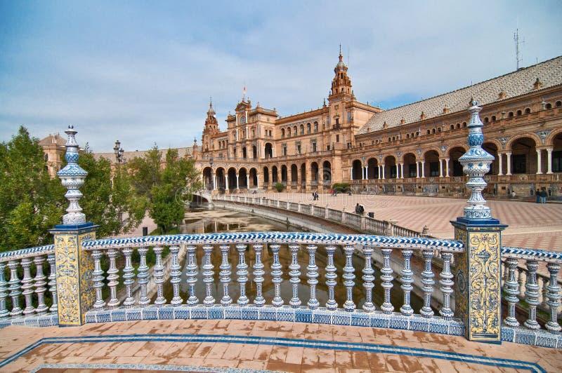 España广场的看法在塞维利亚,西班牙 免版税库存照片