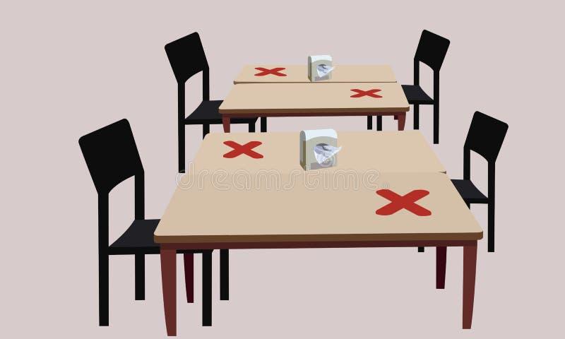 Espaçamento entre mesas e cadeiras foto de stock