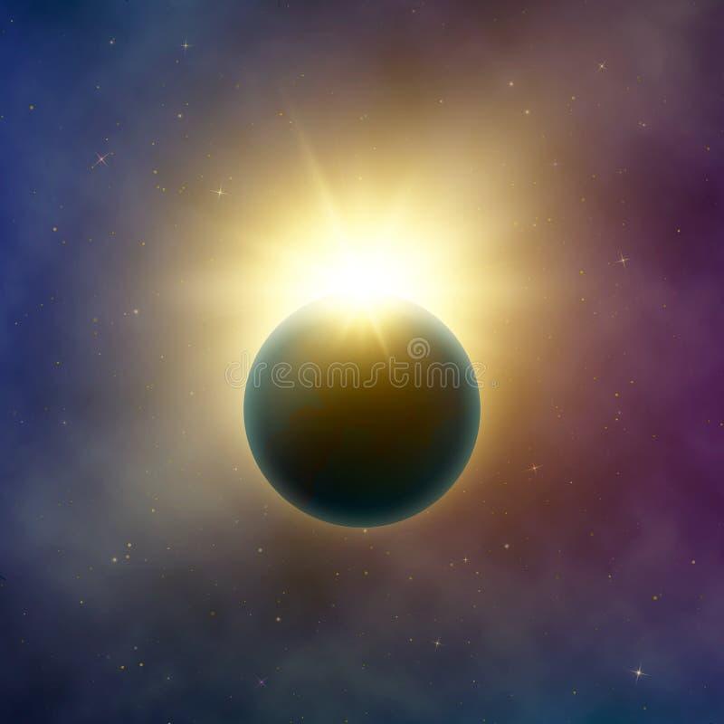 Espaço aberto Eclipse solar bonito realístico Efeito abstrato do eclipse da estrela Fundo do vetor ilustração do vetor
