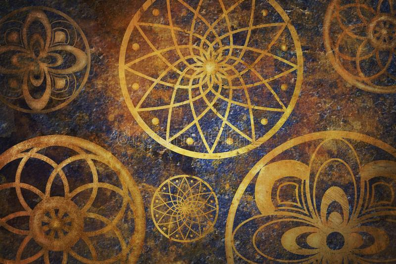 Espaço abstrato da fantasia com teste padrão dourado do círculo Papel de parede da arte fotografia de stock royalty free