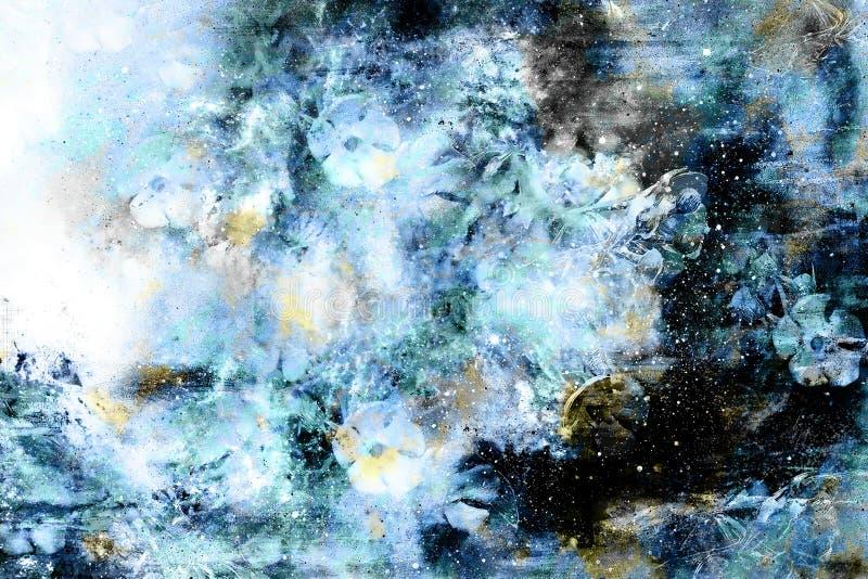Espaço cósmico com flores, fundo da galáxia da cor, colagem do computador ilustração royalty free
