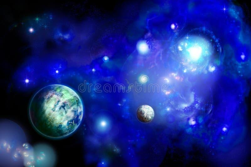 Espaço com dois planetas ilustração do vetor