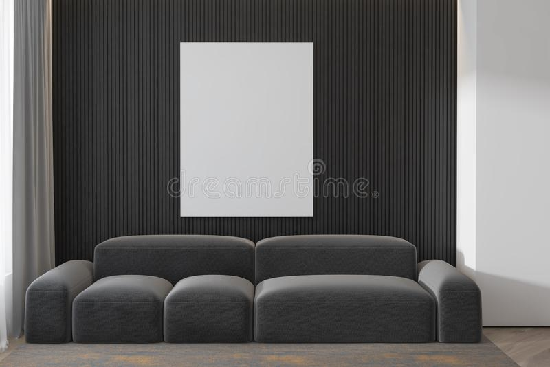 Espaço da cópia no muro de cimento cinzento com cartaz e interior bonito moderno do sofá da sala de visitas 3d rendem Modelo ilustração royalty free