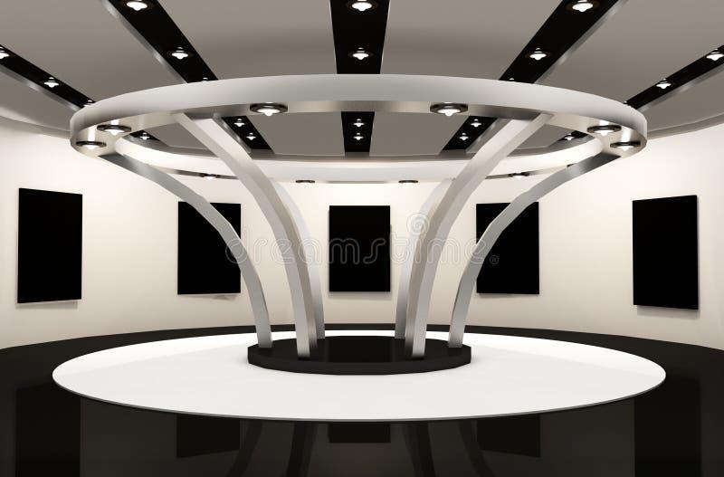 Espaço da galeria com frames. Construção redonda ilustração royalty free