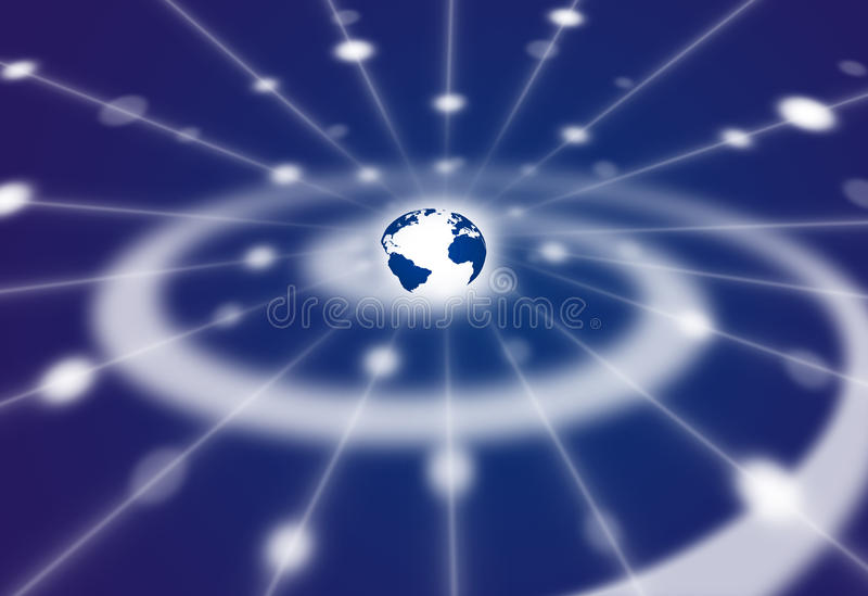 Espaço da rede do comm da galáxia espiral da terra ilustração royalty free