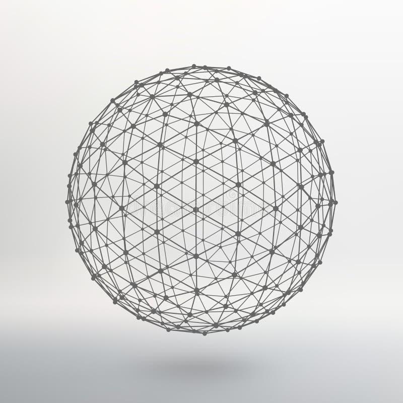 Espaço das linhas e dos pontos Bola das linhas ilustração stock