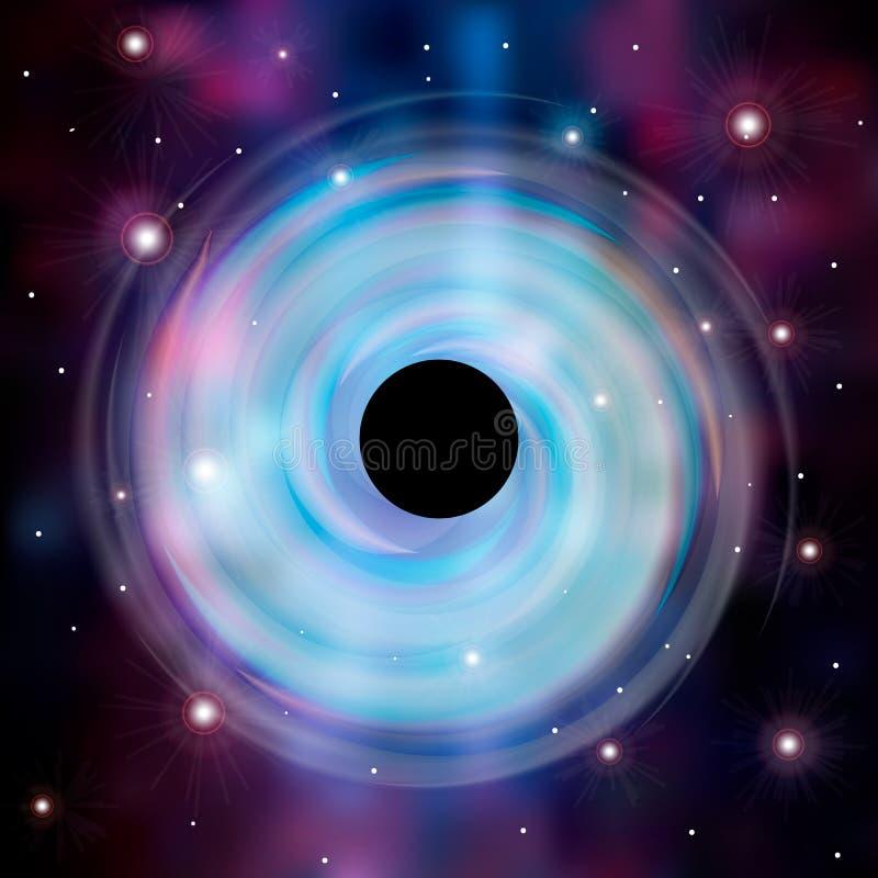 Espaço de Abstrsct - um buraco negro Buraco negro do cosmos no espaço Estrelas e quedas do material em um buraco negro ilustração stock