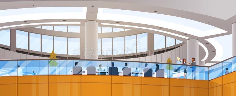 Espaço de funcionamento moderno do prédio de escritórios do centro de negócios que encontra Hall Interior ilustração stock