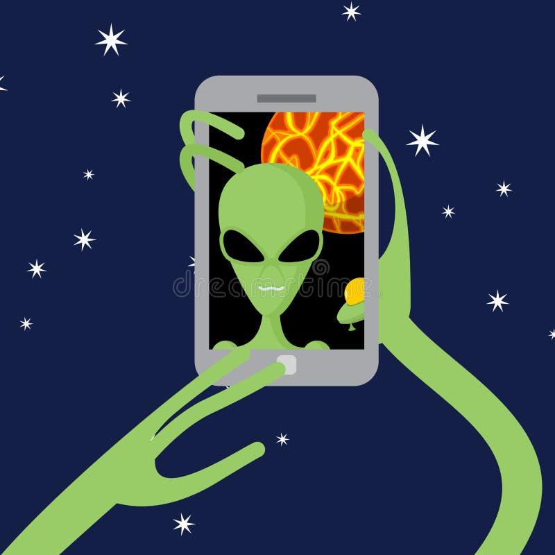 Espaço de Selfie O estrangeiro dispara-se nno telefone contra o contexto de ilustração do vetor