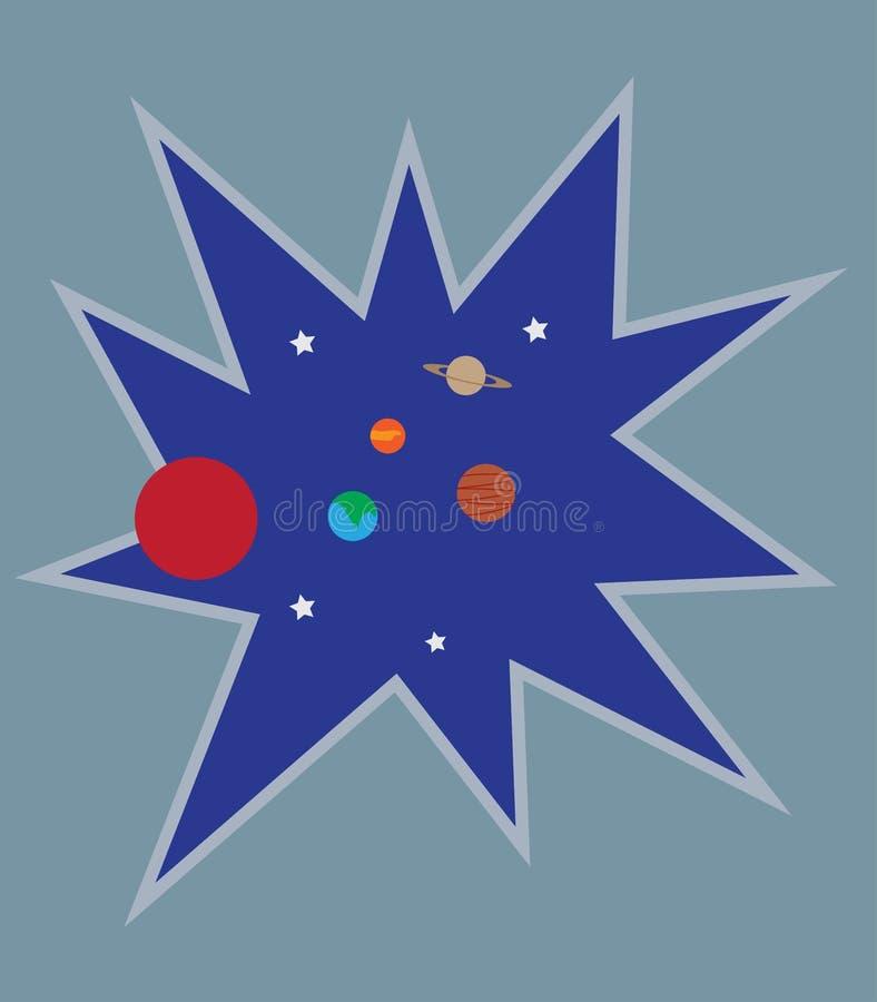 Espaço de sopro com partes do planeta do sistema solar ilustração stock