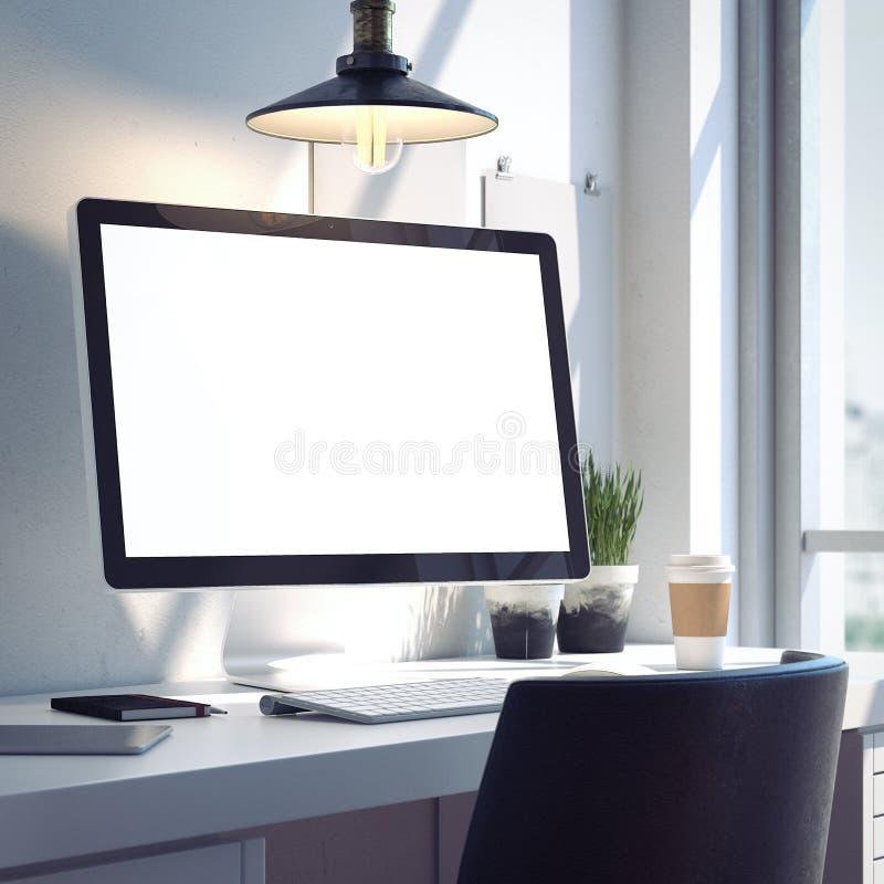 Espaço de trabalho com o computador moderno de prata rendição 3d foto de stock royalty free