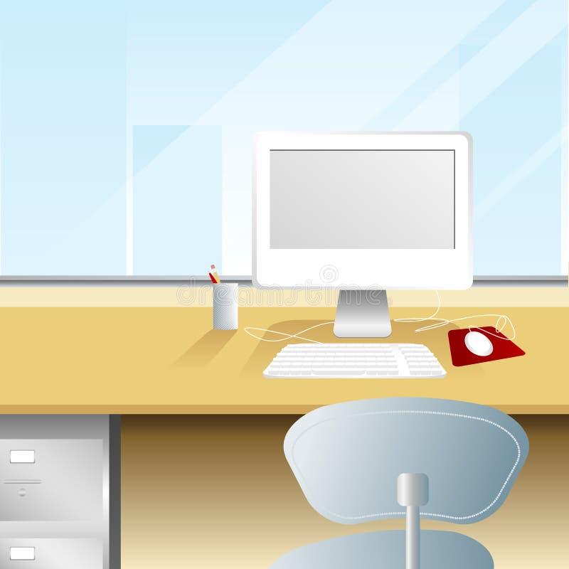 Espaço de trabalho com uma vista ilustração do vetor