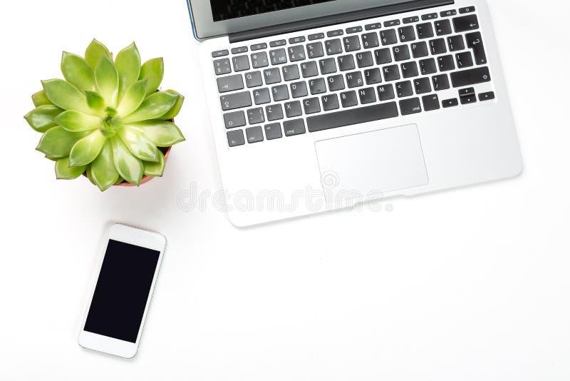 Espaço de trabalho conceptual ou conceito do negócio Laptop com planta em um potenciômetro e em um fundo moderno do telefone celu fotos de stock royalty free