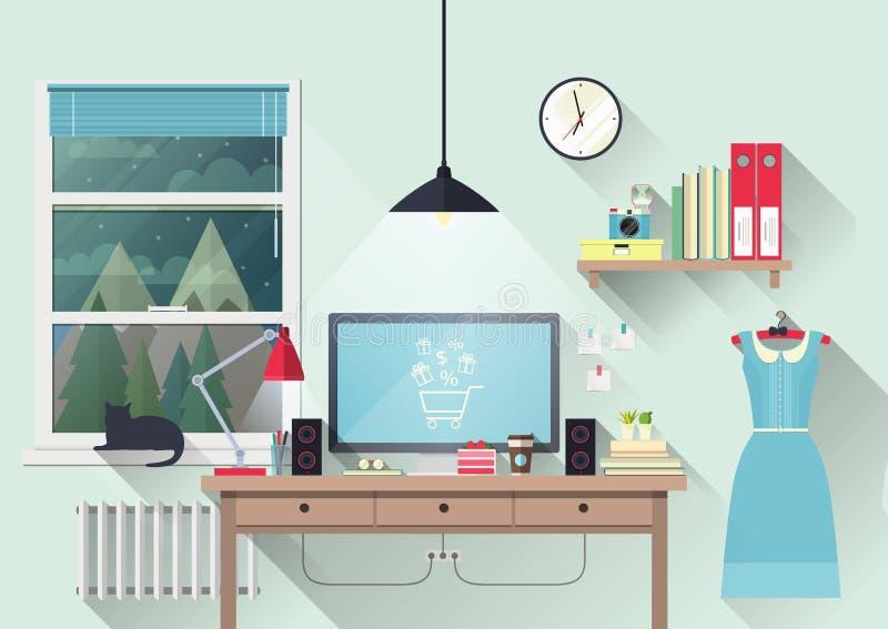 Espaço de trabalho criativo do escritório do blogger ilustração do vetor