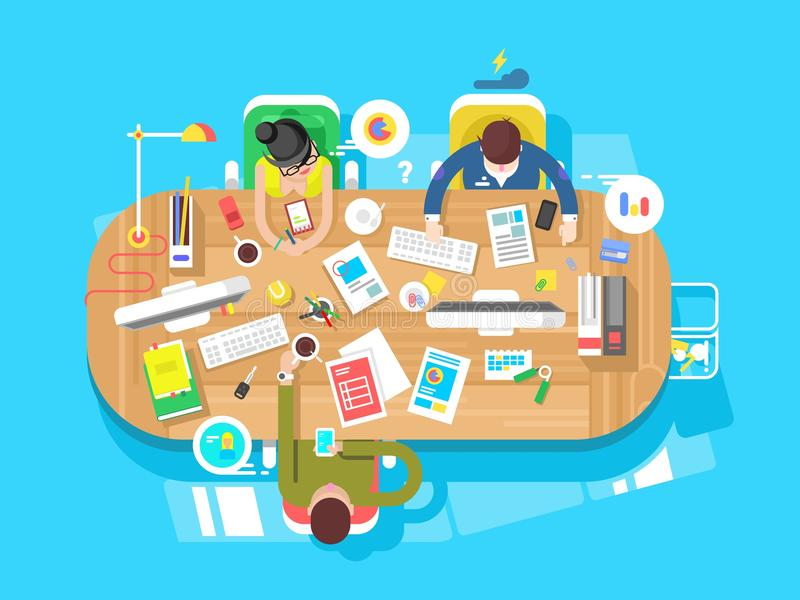 Espaço de trabalho do escritório da conferência ilustração do vetor