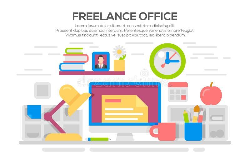 Espaço de trabalho do escritório domiciliário com computador da mesa ilustração stock