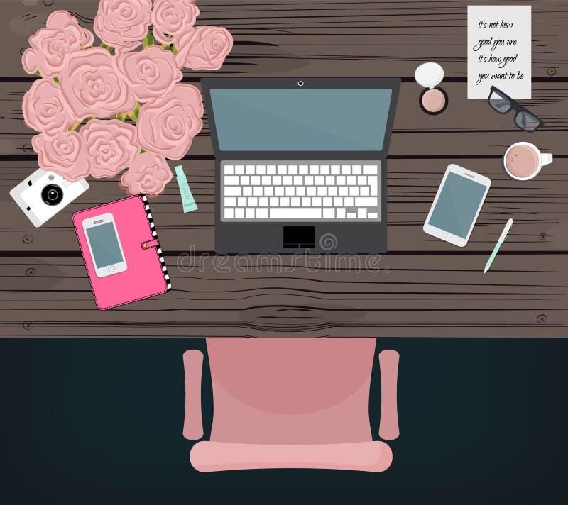 Espaço de trabalho em linha do blogger do mercado Projeto do desktop do vetor Equipamento do serviço online Escritório global do  ilustração stock