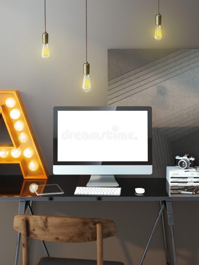 Espaço de trabalho moderno com computador e bulbos imagem de stock royalty free
