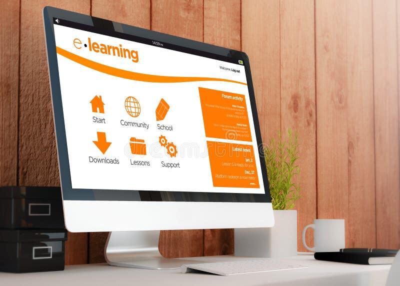 Espaço de trabalho moderno com o computador que mostra o local do elearning ilustração stock