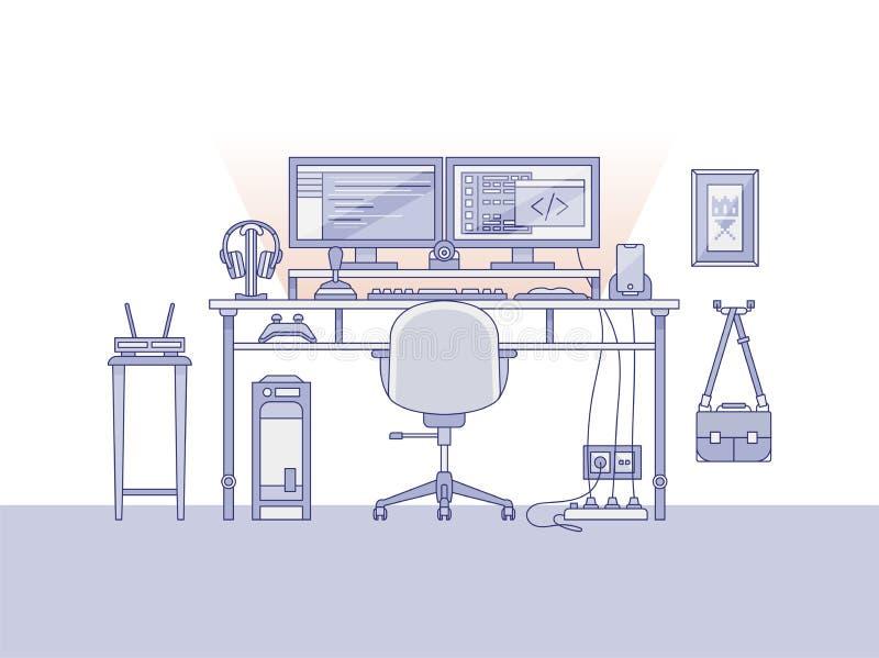 Espaço de trabalho de um coordenador audio ilustração do vetor