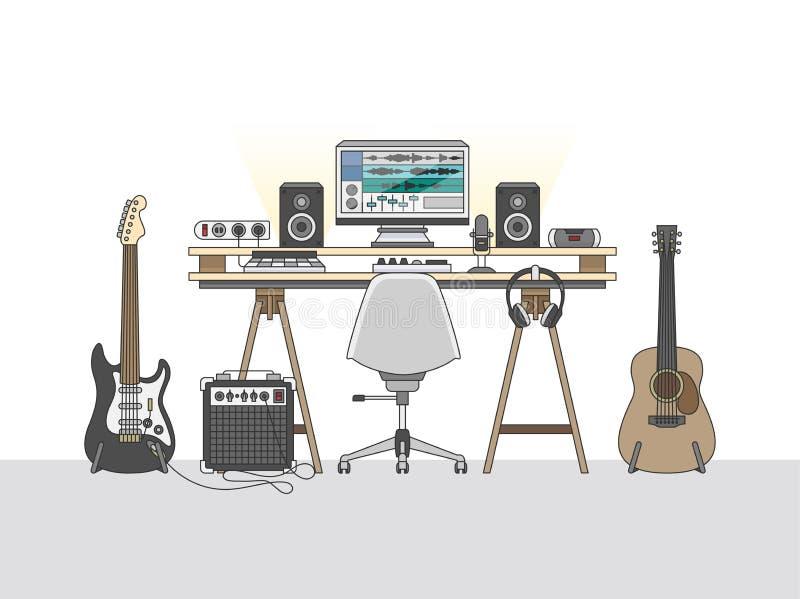 Espaço de trabalho de um coordenador audio ou de um produtor da música ilustração do vetor