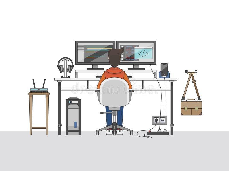 Espaço de trabalho de um coordenador audio ou de um produtor da música ilustração royalty free