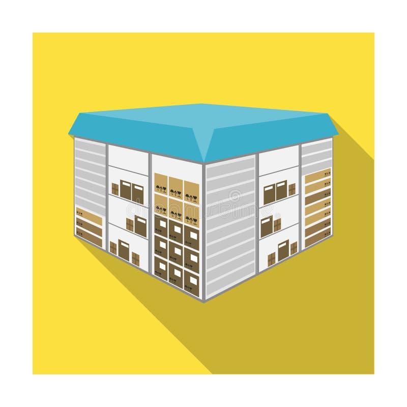 Espaço do armazém As logísticas e ícone da entrega o único no símbolo isométrico do vetor do estilo liso armazenam a Web da ilust ilustração stock