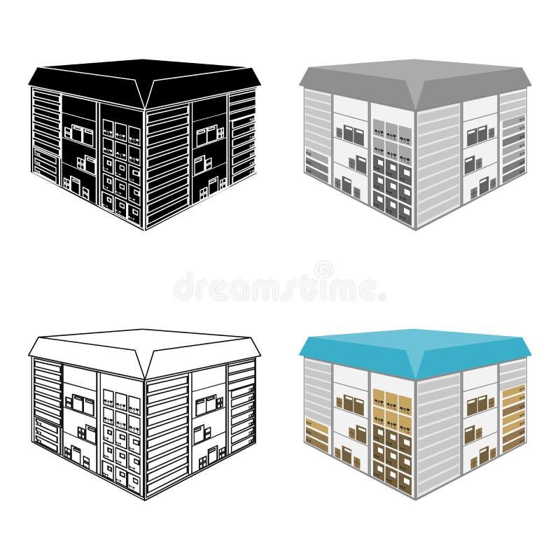 Espaço do armazém As logísticas e ícone da entrega o único nos desenhos animados denominam a Web isométrica da ilustração do esto ilustração stock