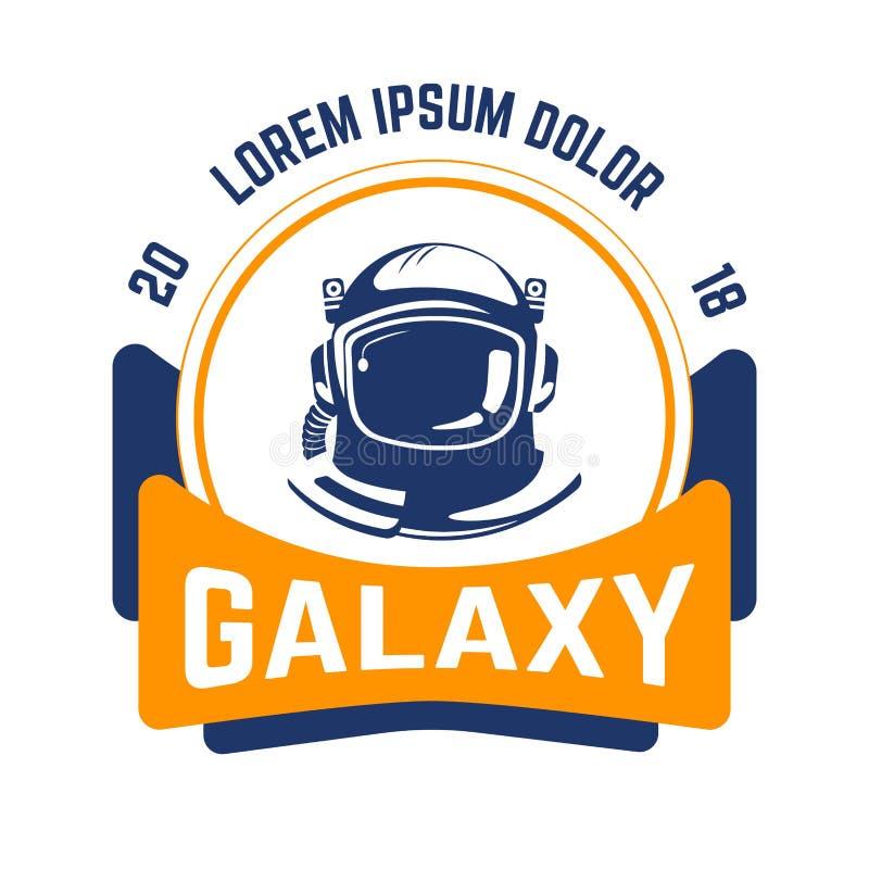 Espaço do emblema e capacete isolados galáxia do astronauta da indústria da aeronáutica ilustração royalty free