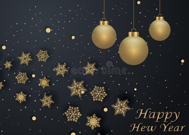 Espaço dourado e preto de ano novo feliz da disposição de cor para bolas do Natal do texto, e flocos de neve Bokeh, luz e fitas d ilustração do vetor