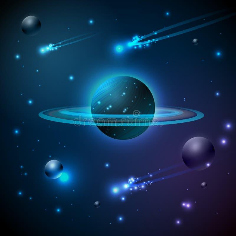 Espaço e planeta ilustração do vetor