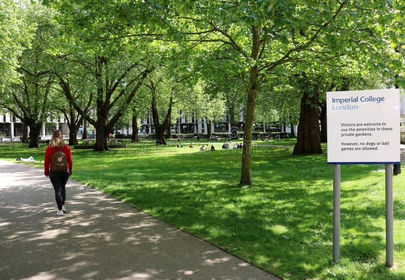Espaço e trajeto verdes, faculdade imperial foto de stock