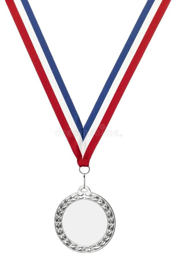 Espaço em branco de prata da medalha dos olympics com trajeto de grampeamento imagens de stock royalty free