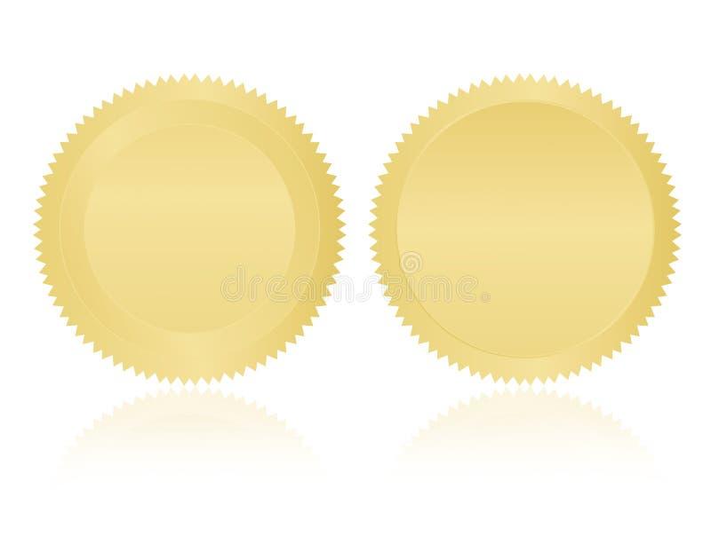 Espaço em branco de /Stamp /Medal do selo do ouro ilustração do vetor