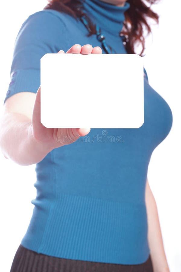 Download Espaço Em Branco Do Cartão Na Mão Da Mulher Foto de Stock - Imagem de businesswoman, holding: 26519886
