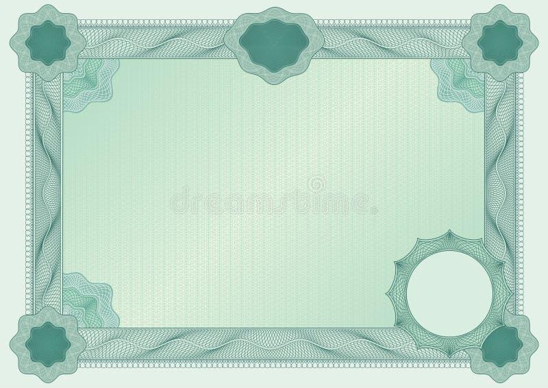 Espaço em branco do certificado ilustração stock