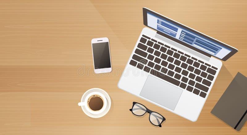 Espaço esperto da cópia da opinião de ângulo superior do café do telefone da pilha do laptop da mesa do local de trabalho ilustração stock