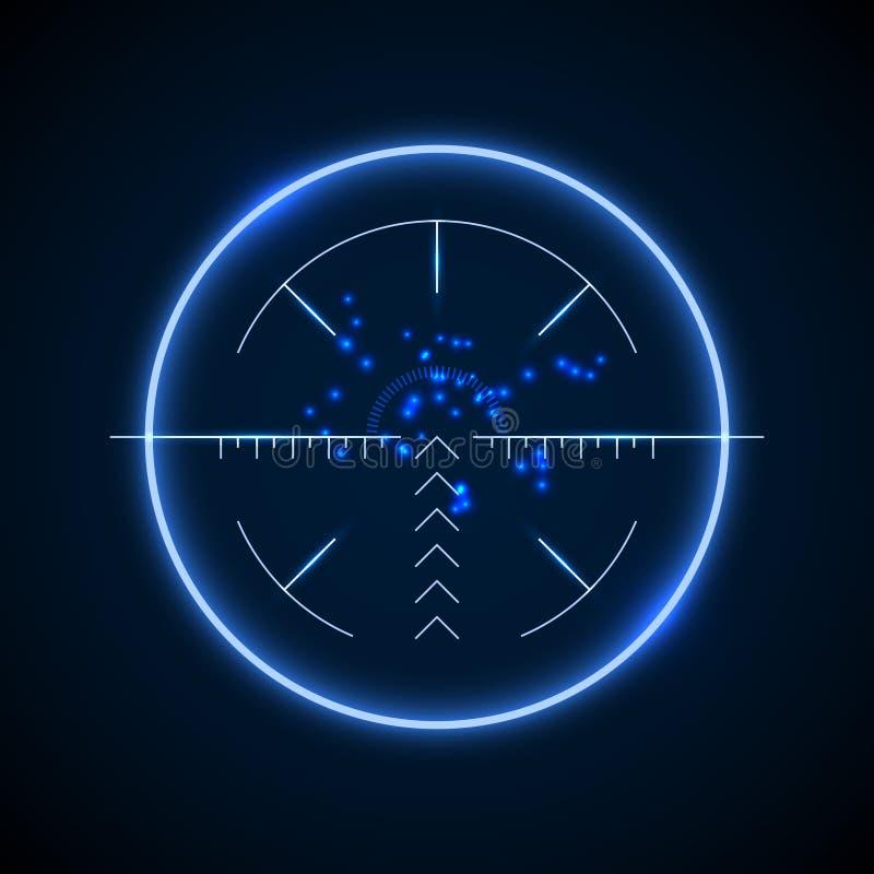 Espaço exato do atirador furtivo, ilustração luminosa de néon do vetor do alvo ilustração royalty free