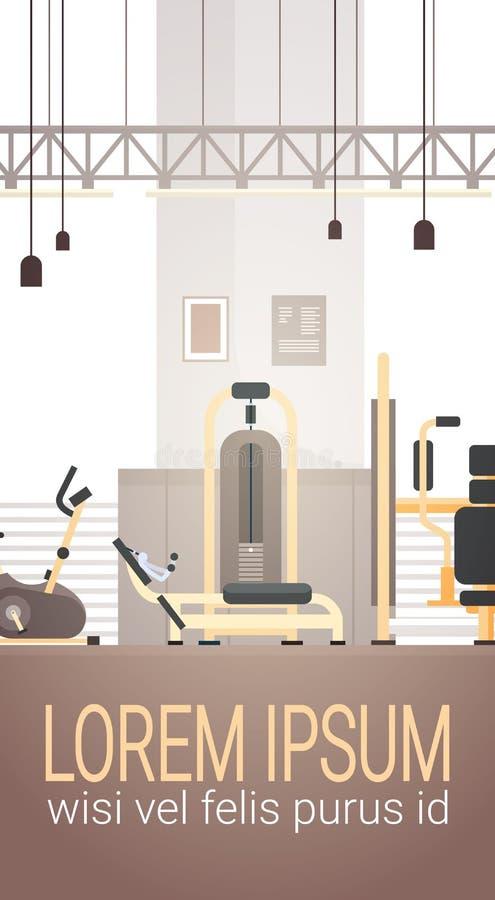 Espaço interior da cópia do equipamento do exercício do Gym do esporte ilustração stock