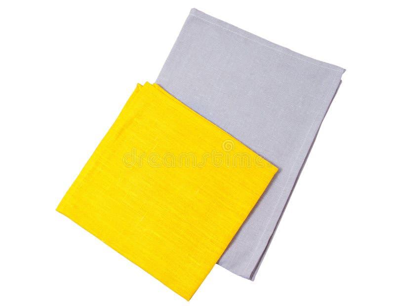 Espaço isolado amarelo e cinzento da cópia da opinião superior de guardanapo de papel fotos de stock royalty free