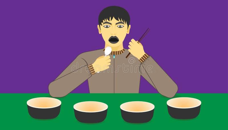 Espaço livre no copo para sua promoção do alimento um homem excitado à refeição recomendada em uns mercadorias na frente dele ilu ilustração do vetor