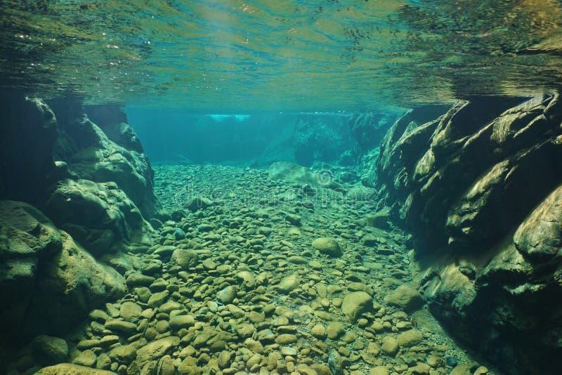 Espaço livre subaquático do rio da rocha e dos seixos de água doce fotografia de stock royalty free
