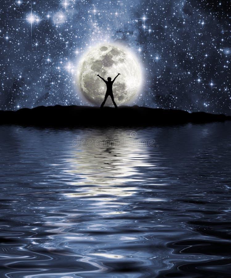 Espaço, lua e homem ilustração stock