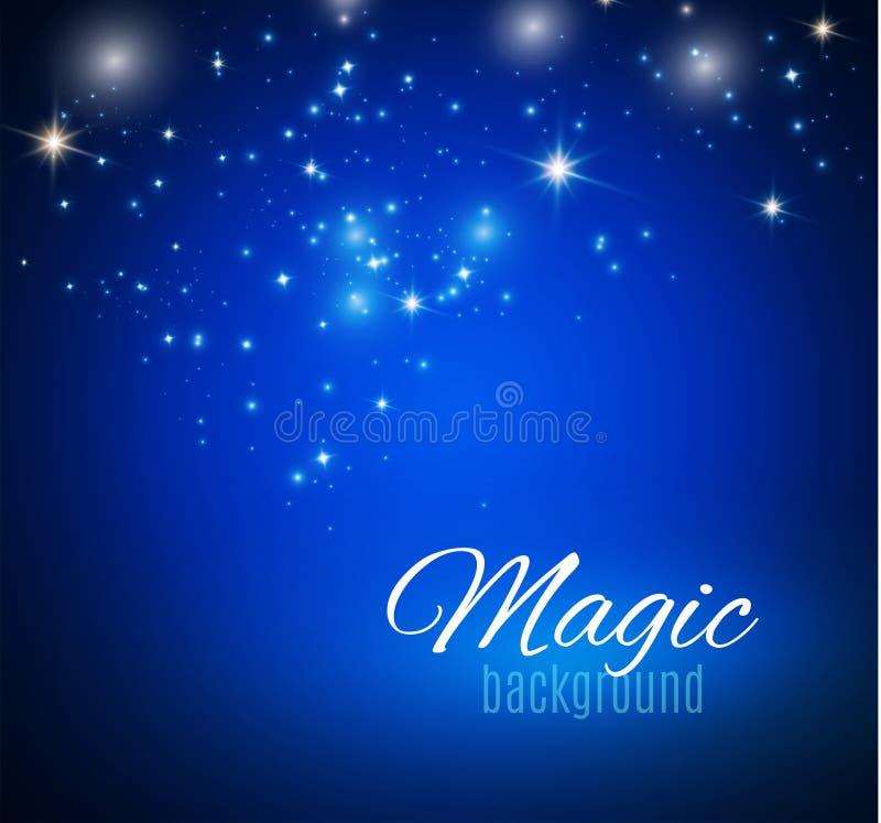 Espaço mágico Infinidade feericamente da poeira Fundo abstrato do universo Fundo azul e estrelas de brilho Ilustração do vetor ilustração do vetor